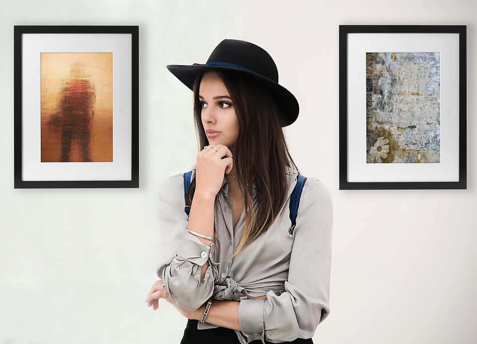 Portrait, Women, Young, With Hat, Thinking, Model