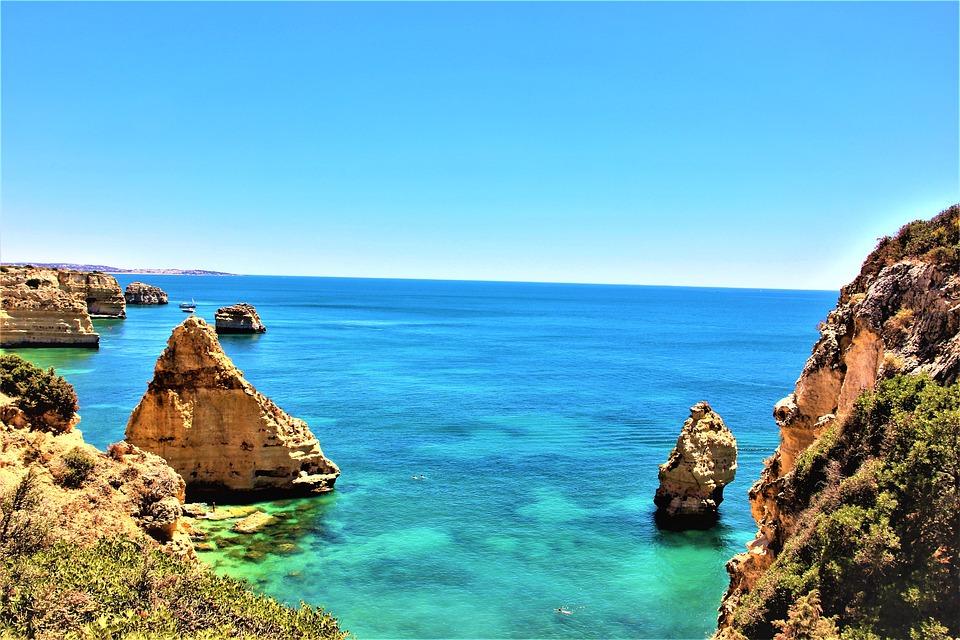 Beach, Ocean, Coast, Rocks, Scenic, Portugal, Vacations