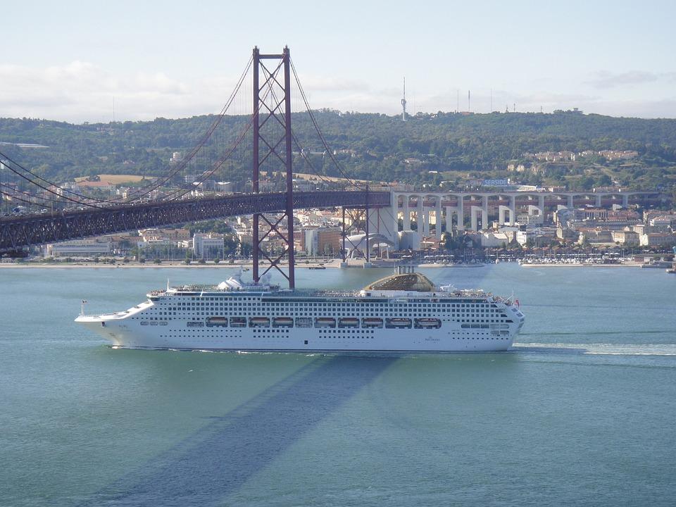 Lisbon, Portugal, 25th Of April Bridge, Boat