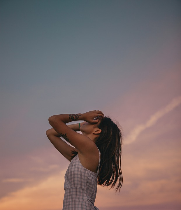 Woman, Model, Pose, Sky, Dress, Casual, Asian, Face
