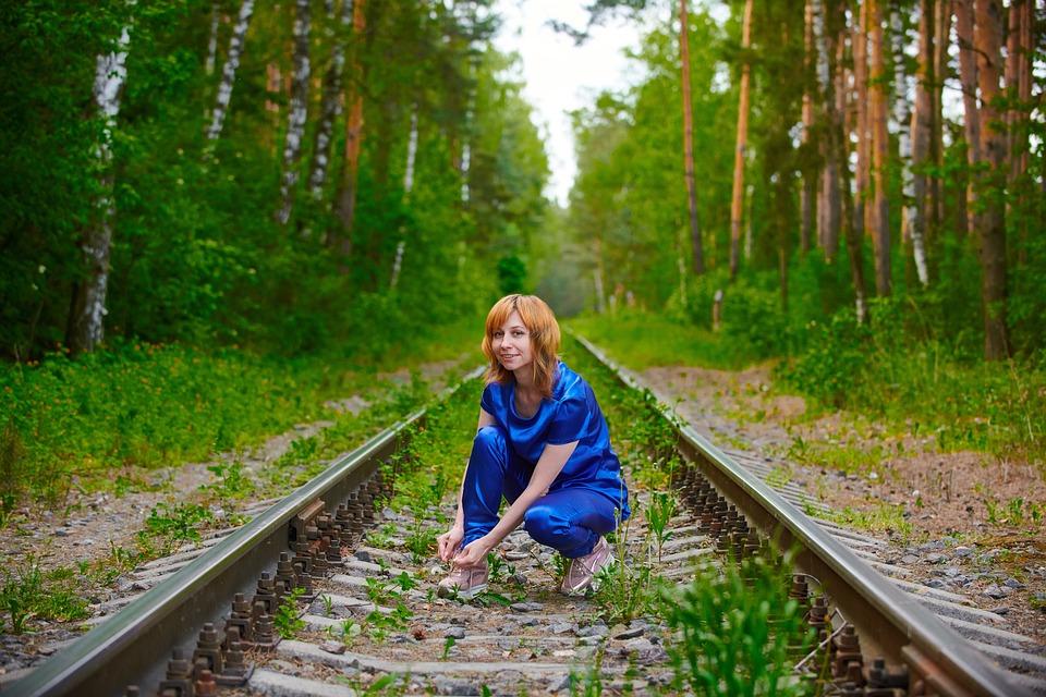 Woman, Fashion, Railway, Rails, Girl, Model, Pose