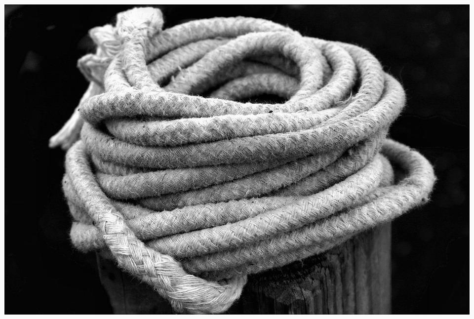 Rope, Coils, Hemp, Post, Black White