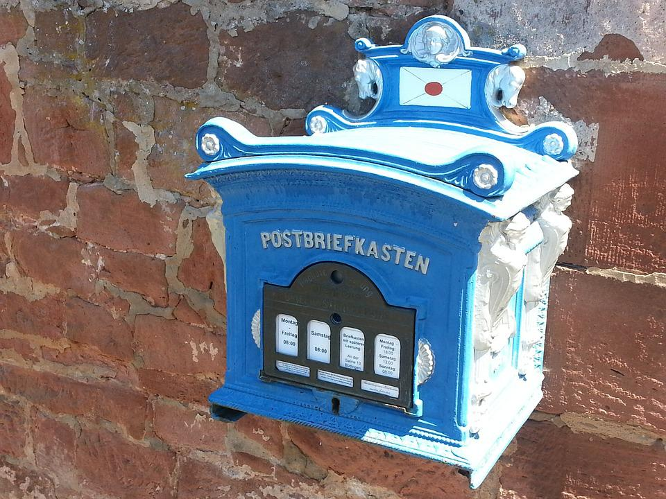 Mailbox, Post, Blue, Wall, Old, Masonry, Historically