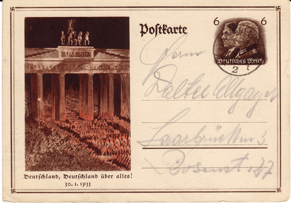 Postcard, German Empire, Stamp, Post, Penny, Retro