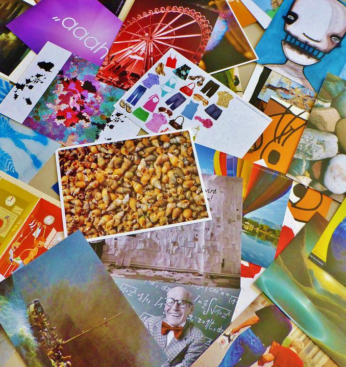 Postcards, Greeting Cards, Selection, Images, Collage