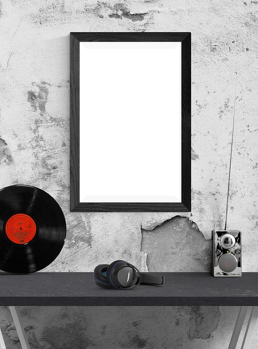 Poster, Frame, Template, Lp Standing, Radio, Headphone