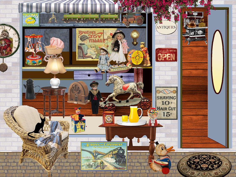 Shop, Trade, Antiques, Toys, Pendulum, Clock, Posters