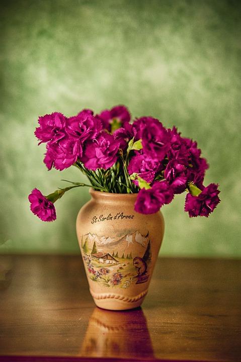 Pottery, Flowers, Pot, Carnations, Pink, Bouquet