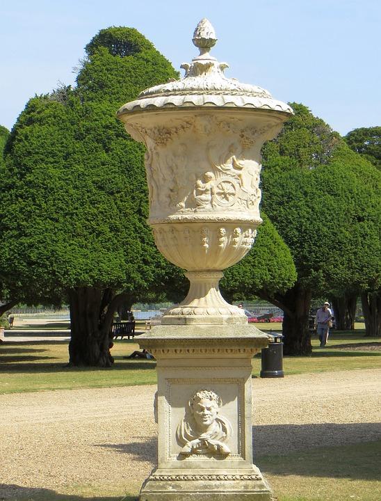 Urn, Garden, Stone, Park, Green, Pot, Decoration