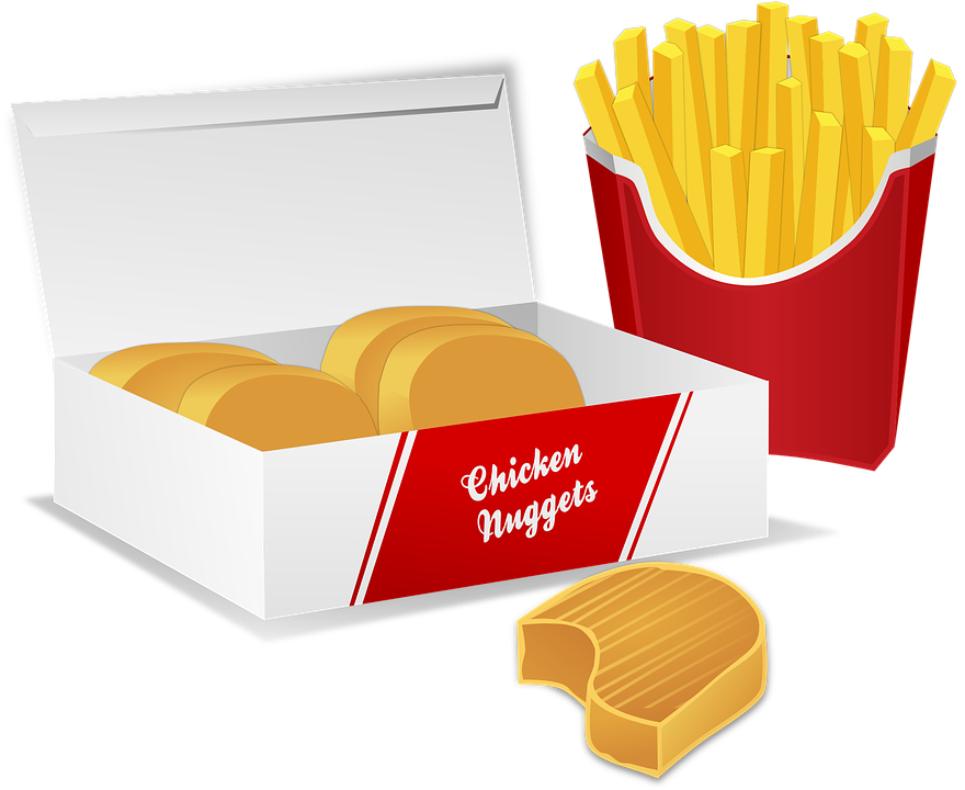 Chicken Nuggets, Potato Chips, French Fries, Bread