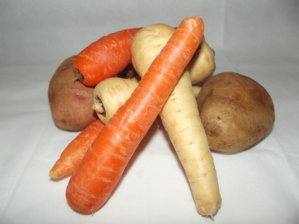 Mixed, Whole, Vegetables, Carrots, Parsnips, Potatoes
