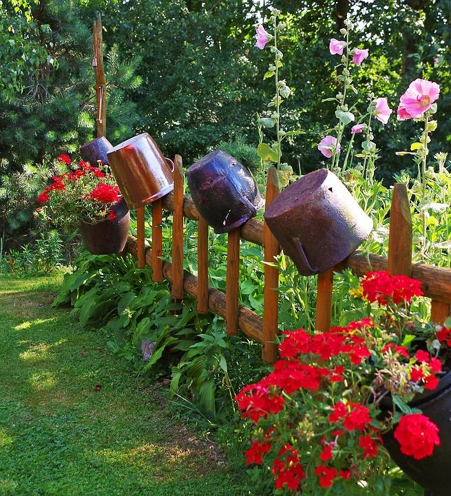 Garden, Flowers, The Fence, Pots, Ornament, Arrangement
