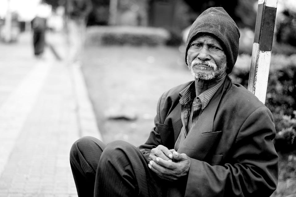 Old Man, Homeless, Monochrome, Poverty, Person, Aged