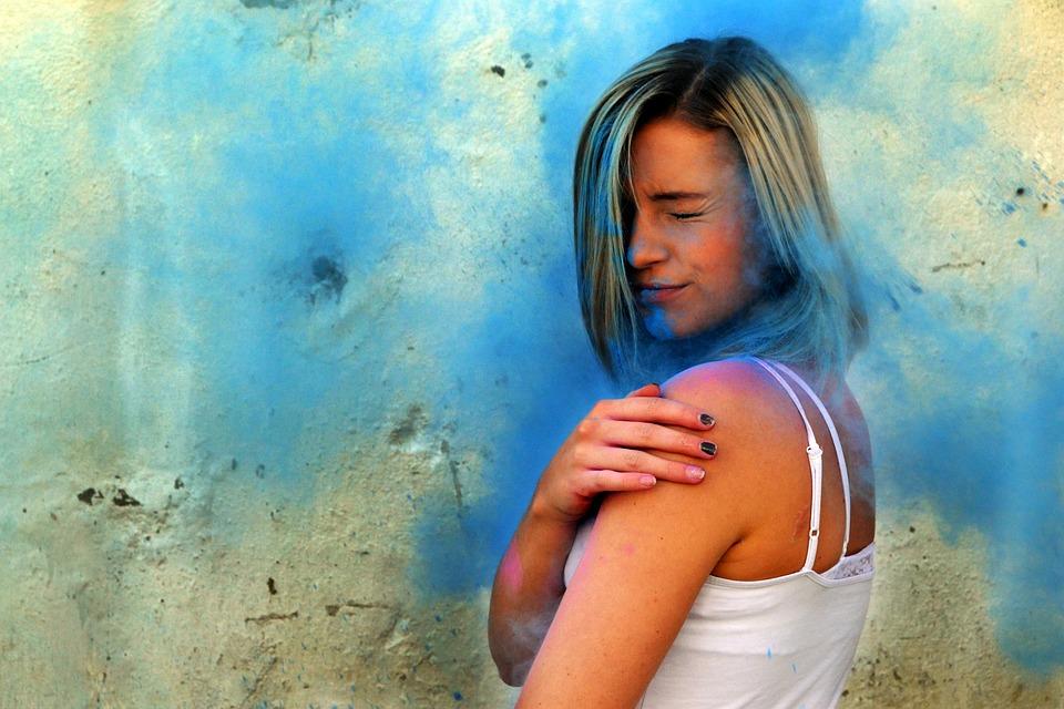 Blue, Color, Holi, Powder, Portrait, Blonde, Impact