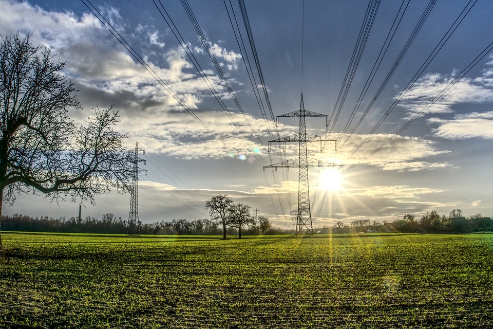 Power Line, Catenary, Sun, Backlighting, Dazzling Star