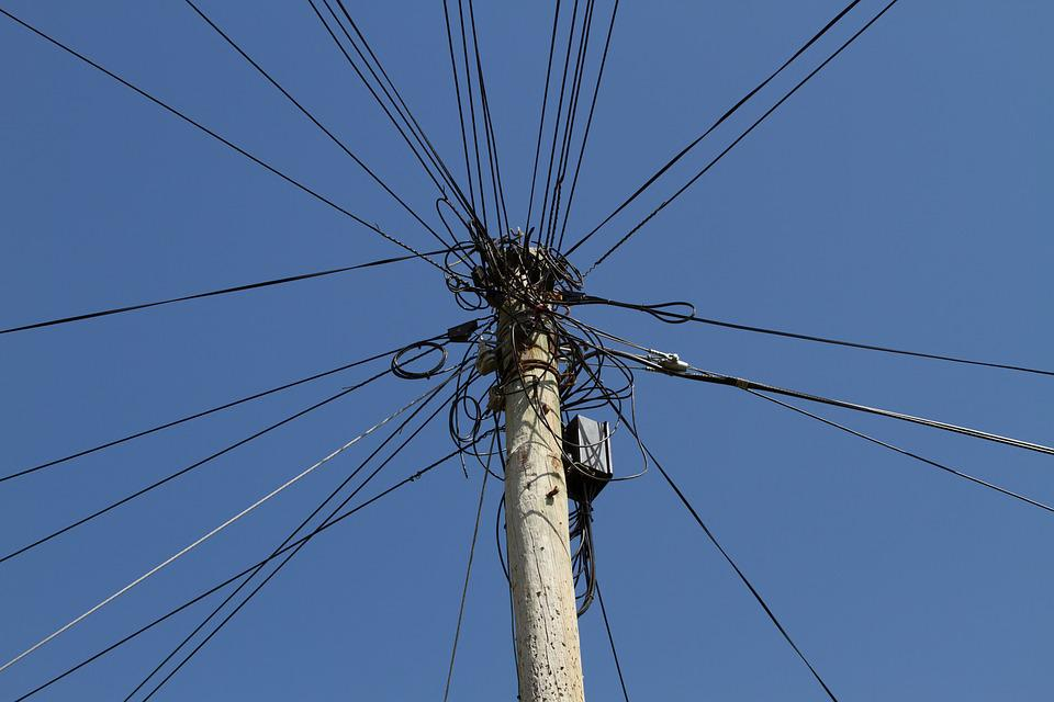 Strommast, Power Cable, Power Line, Cable Salad