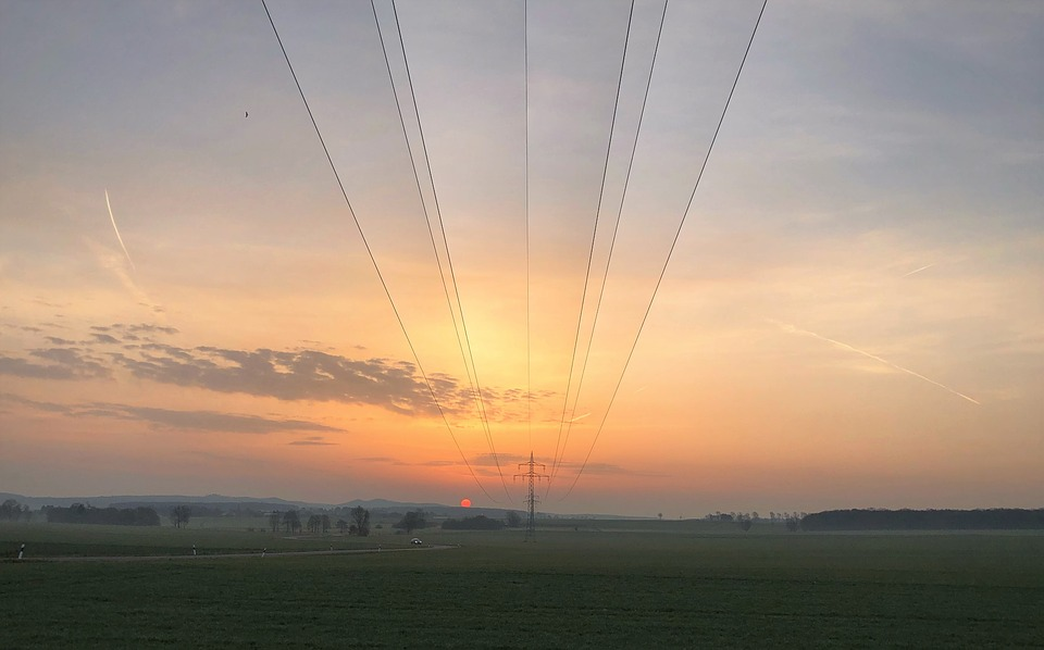 Power Line, Field, Power Lines, Sunrise, Power Supply