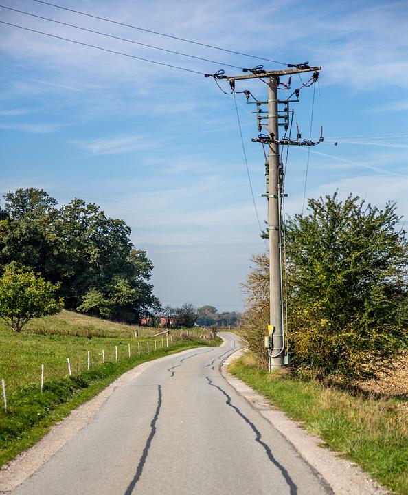 Strommast, Lane, Away, Current, Power Lines, Forest