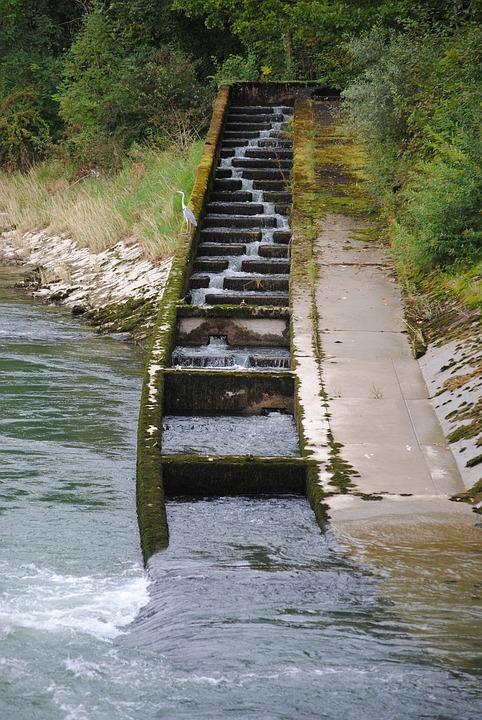 Fish Ladder, Fish Pass, River, Power Plant, Villnachern