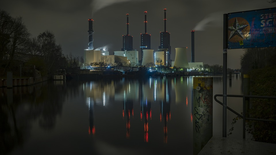 Power Plant, Water Reflection, Industry