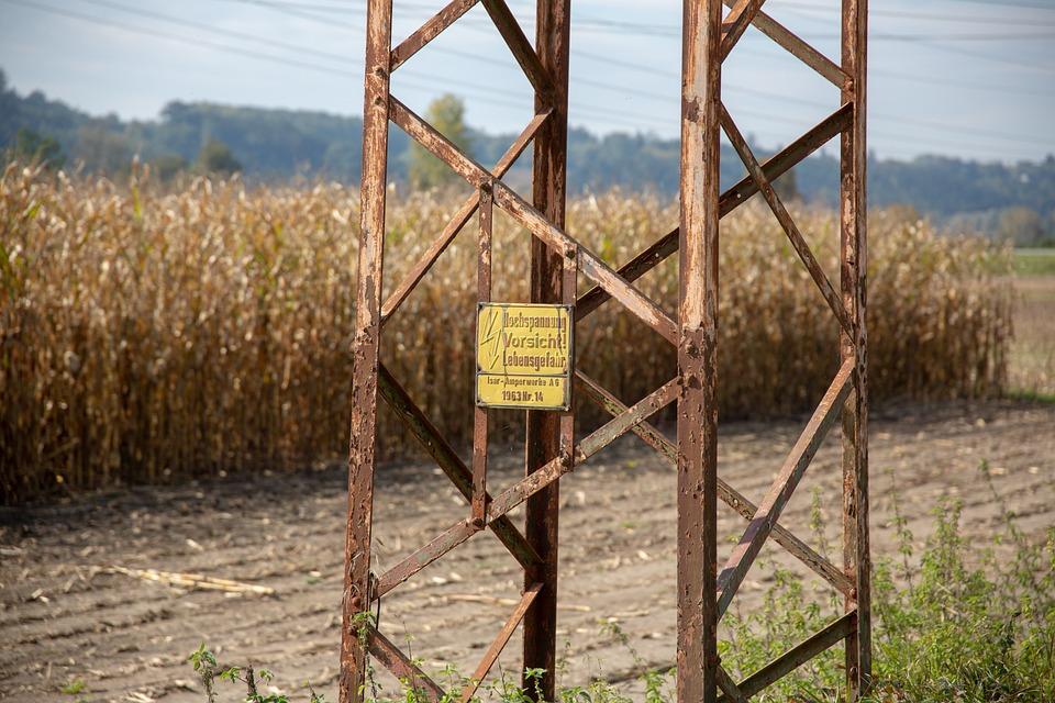 Strommast, Field, Corn, Landscape, Power Poles, Arable