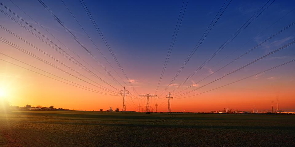 Sunset, Countryside, Power Lines, Power Poles