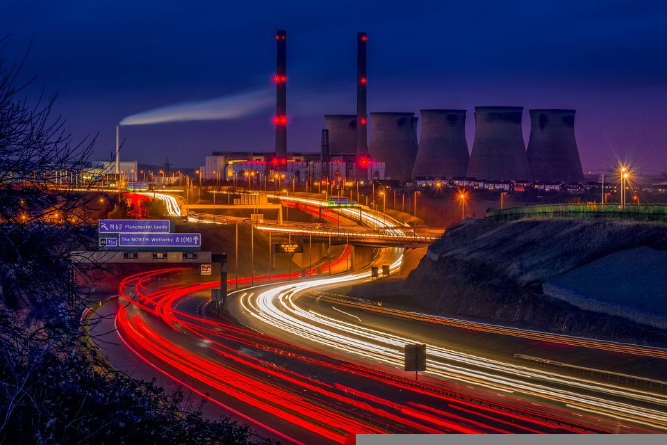 Power Station, Light Trails, Motorway, Taillights