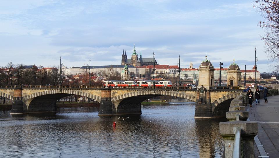 Prague, Prague Castle, Vltava, River, Bridge