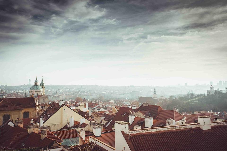 City, Sky, Clouds, Prague, Czech Republic, Roofs, View