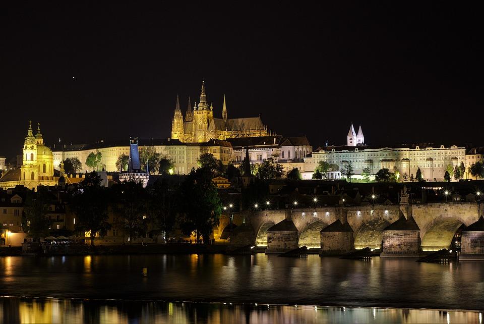 Prague, Night, Illuminated, Moldova, Bridge, Old Town