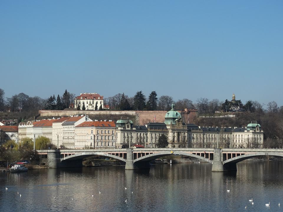 Prague, Bridge, Water, Buildings