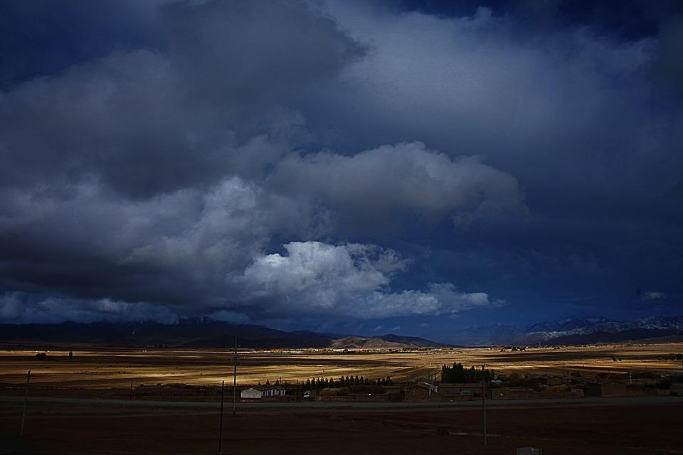 Prairie, Dark Clouds, Cloudy Day