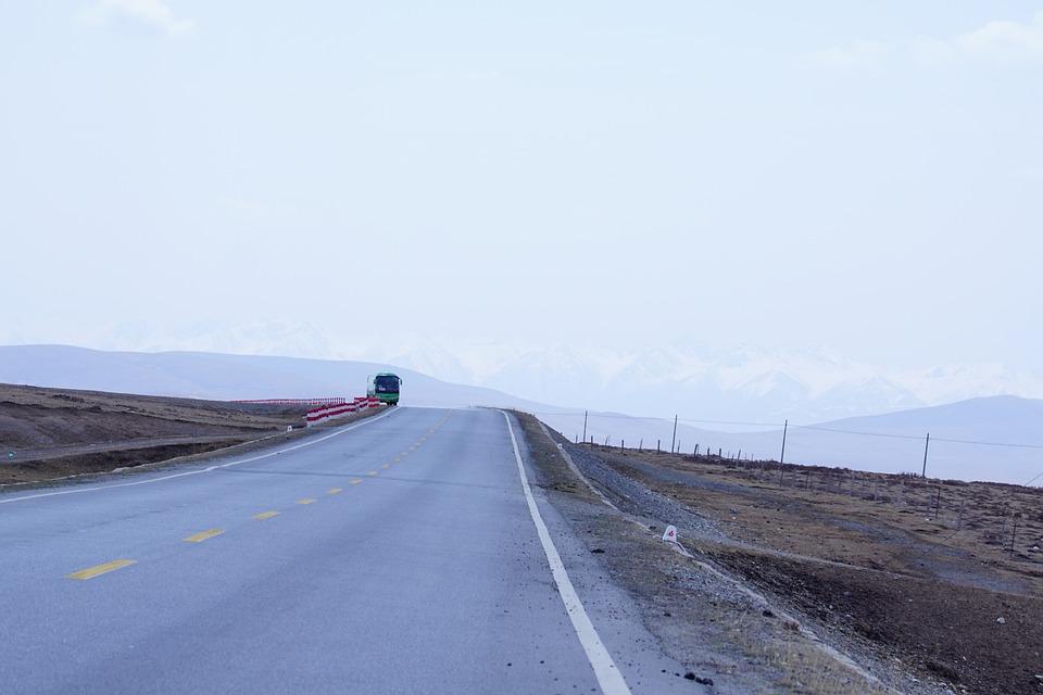 White Cloud, Prairie, Qinghai, Snow Mountain, Highway