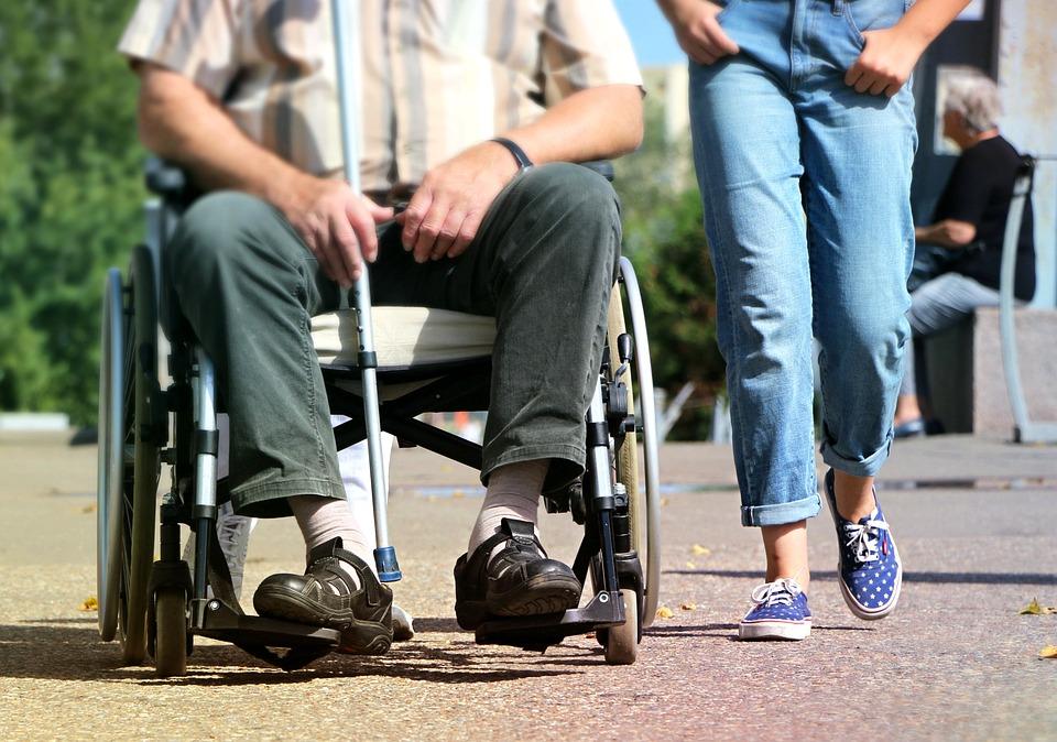 Wheelchair, Disabled, Pram, Legs, Help, Crutch