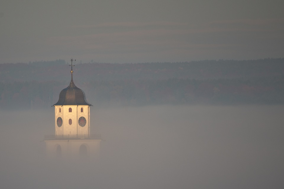Church, Sunrise, Sunset, Fog, Space, Sky, Hill, Prayer