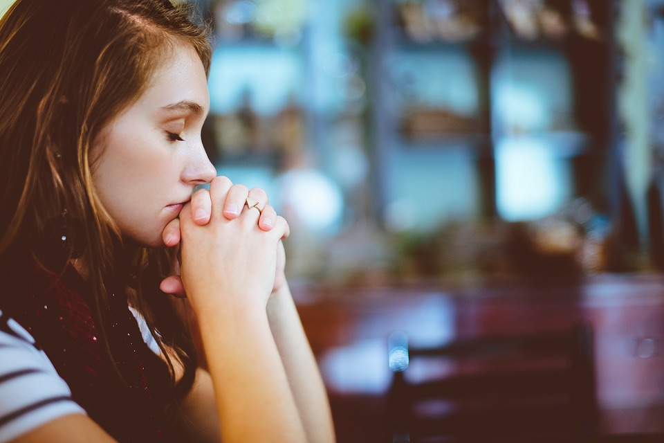 People, Girl, Praying, Church