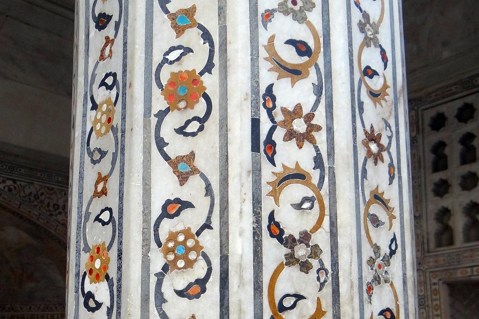 Pillar, Interior, Marble Inlay, Precious Stones Inlaid