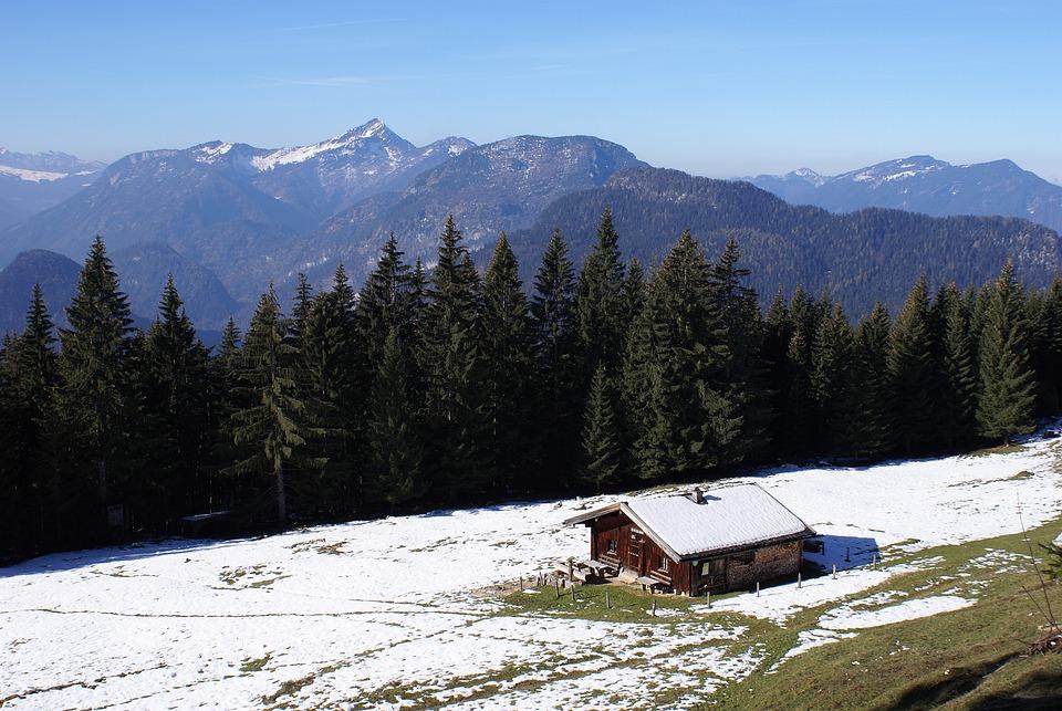 Mountain Hut, Predigtstuhl, Alpine, Snow, Mountains