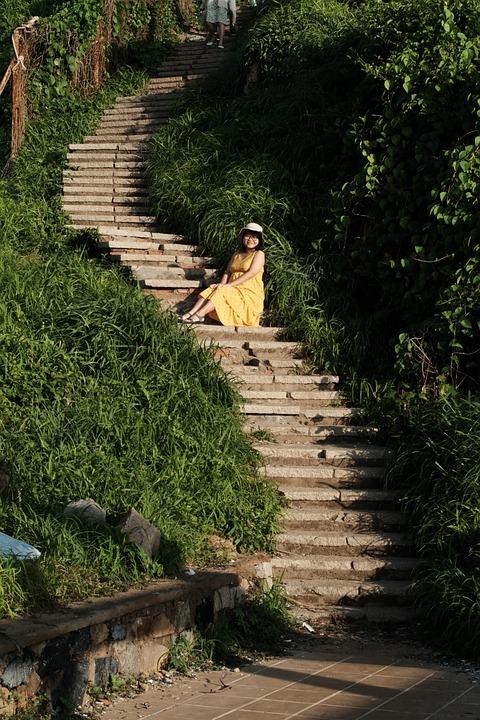 Woman, Model, Pregnant, Lady, Stairs, Vungtau