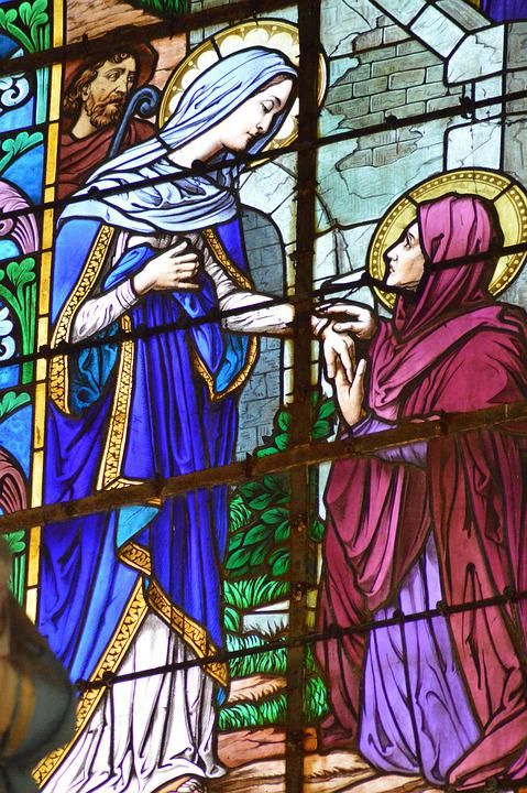 Stained Glass, Women, Pregnant, Elisabeth, Mary