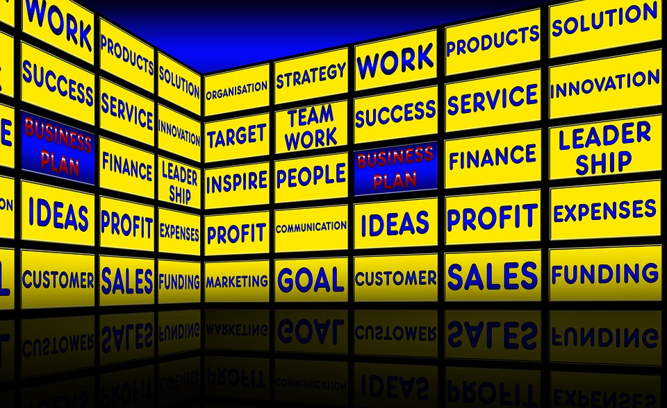 Business Plan, Monitor Wall, Presentation, Business
