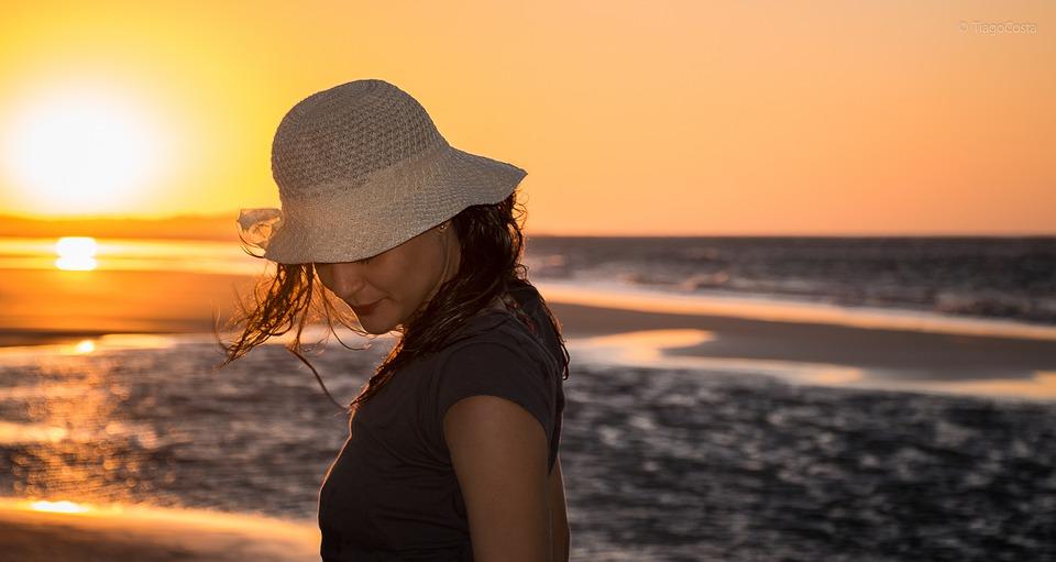 Woman, Sunset, Beach, Pretty, Girl