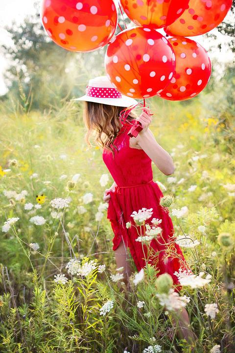 Young Woman, Pretty, Red, Balloons, Running, Summer