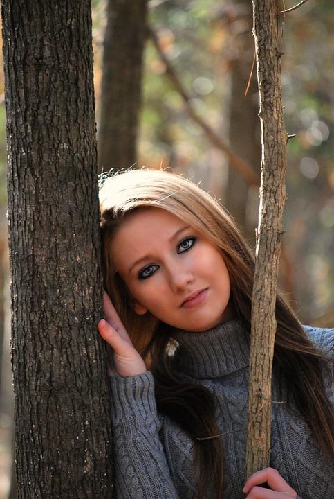 Girl, Dreaming, Pretty, Nice, Beautiful, Trees, Woods