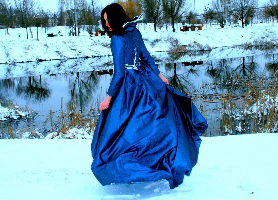 Girl, Princess, Snow, Blue, Dress, Nice