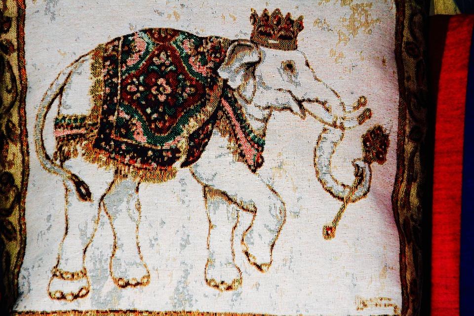 Fabric, Elephant, Pattern, Printed, Tusk, Printed On