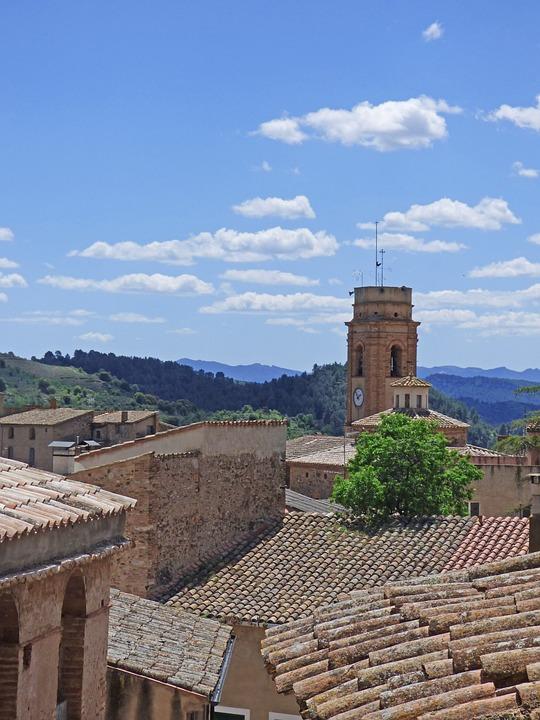 People, Bell Tower, Priorat, Roofs, Arab Tiles
