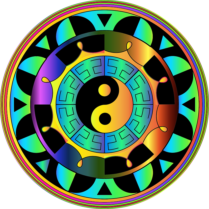 Mandala, Prismatic, Colorful, Yin Yang, Chromatic