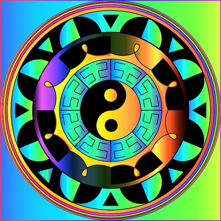 Digital Paper, Mandala, Prismatic, Colorful, Yin Yang