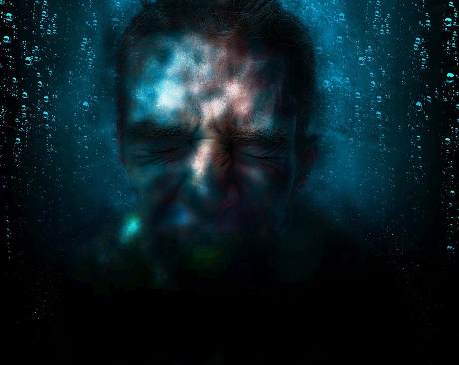 Man, Submerge, Problem, Unhappy, Sad, Worried, Face